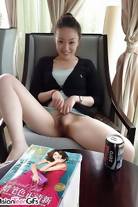 ultra-cute youthful asian female with nicely shaved gash is onanism